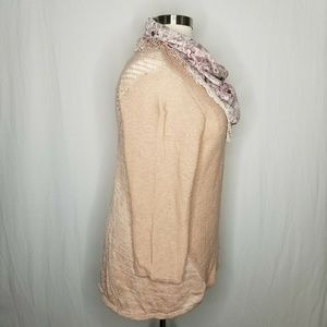 Style & Co Sweaters - Style & Co Peony Pink Knit Sweater + Velvet Scarf